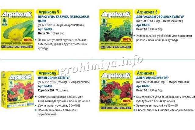 Виды удобрения Агрикола 1
