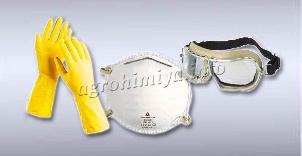 Во время работы лучше надевать защитные перчатки, очки, респиратор