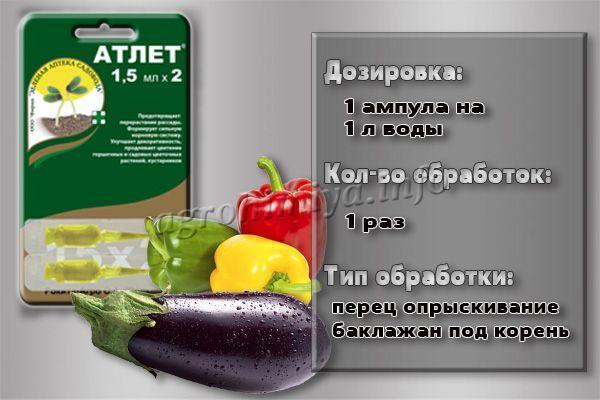 Инструкция по применению препарата Атлет для перца и баклажан