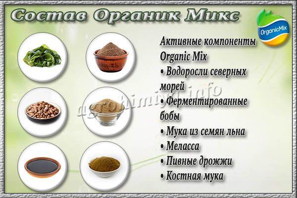 Активные компоненты удобрения Органик Микс